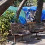 新宿中央公園にはホームレスの家が立ち並ぶ - 2013/03/15 14:30