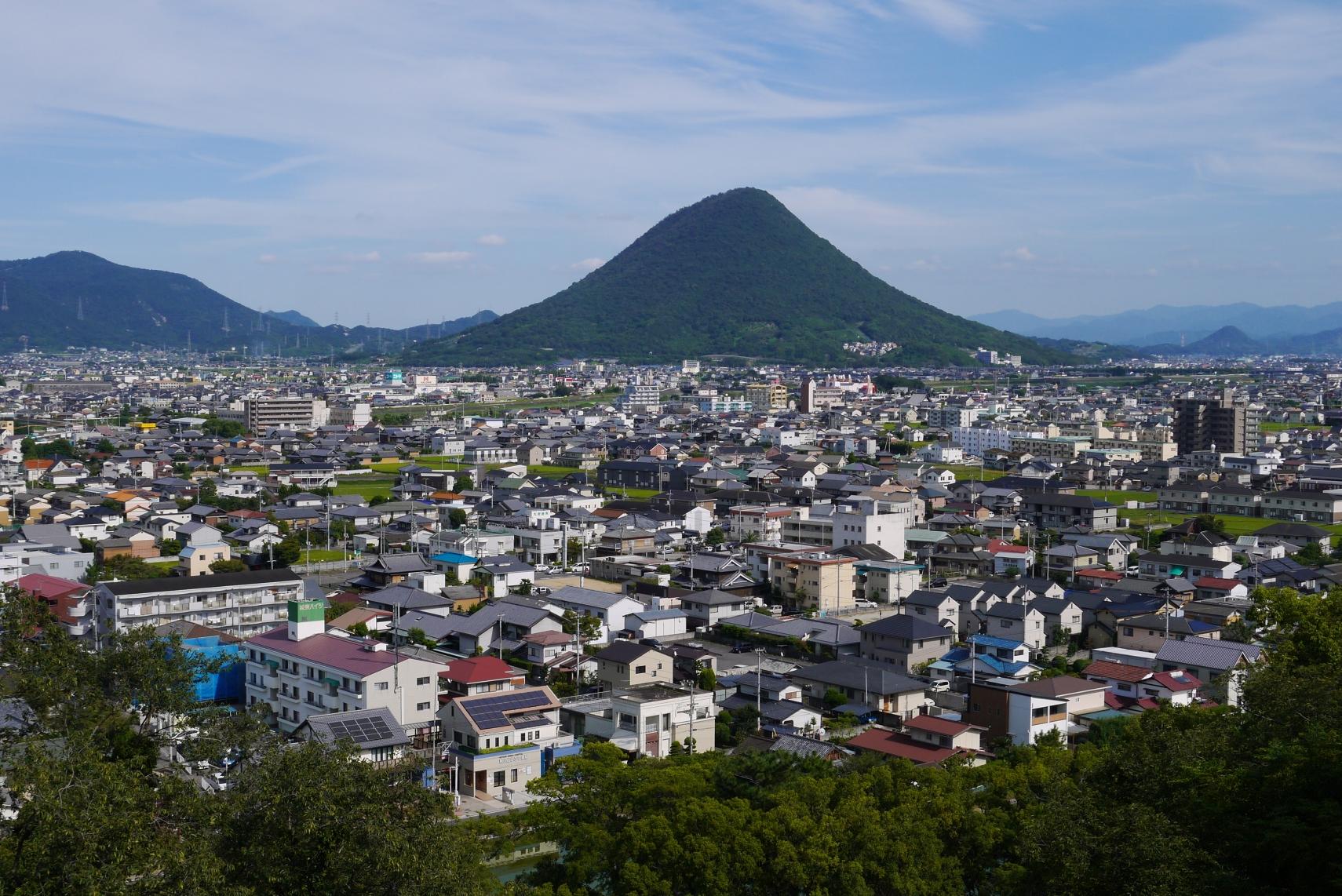 丸亀城下町と山